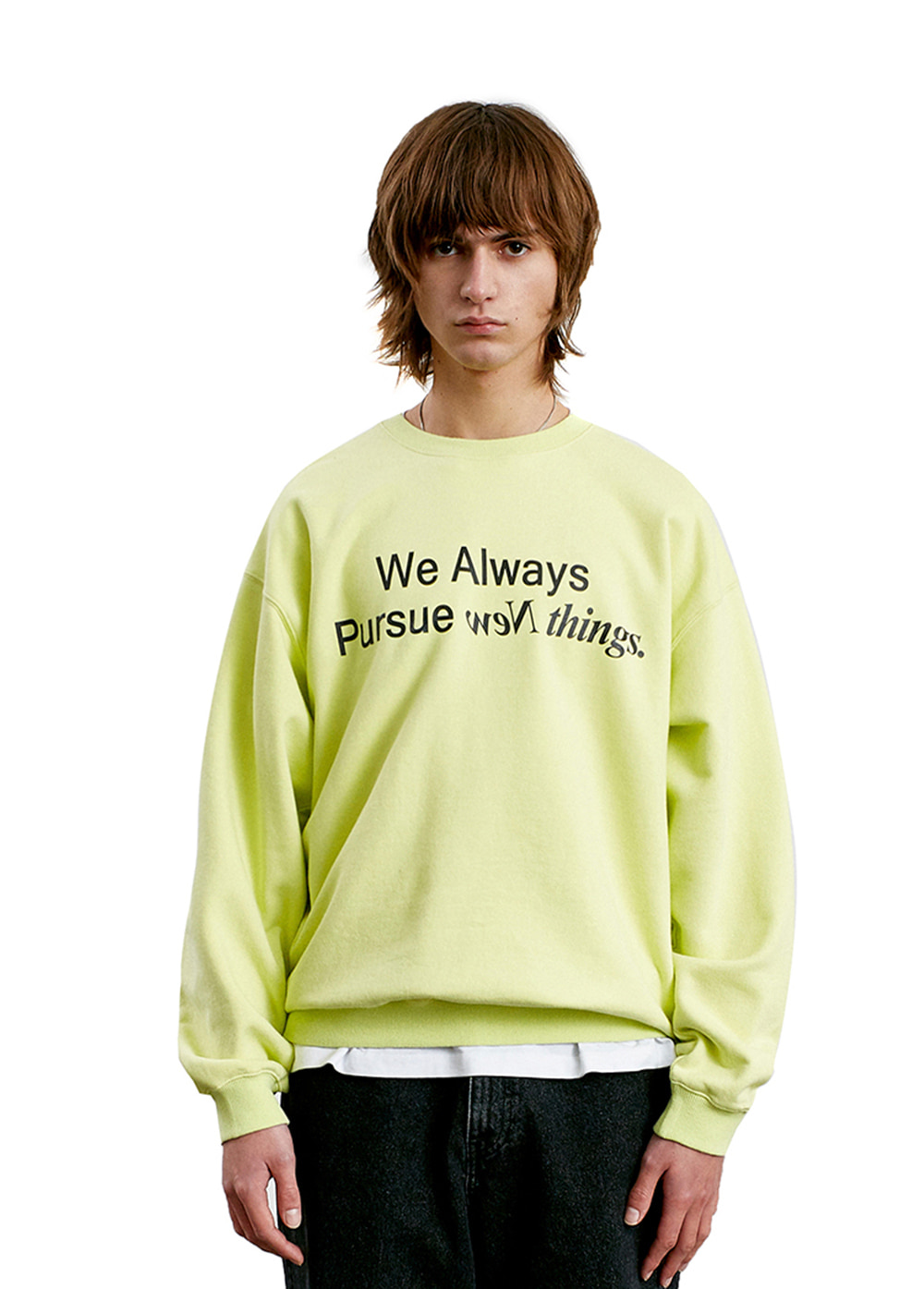 SLOGAN LOGO SWEATSHIRT lemon