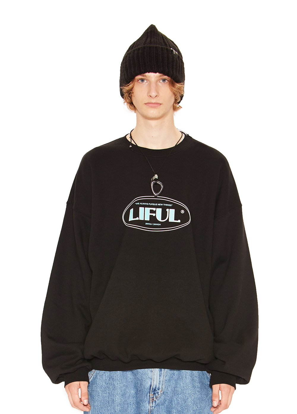 LINE OVAL LOGO SWEATSHIRT black