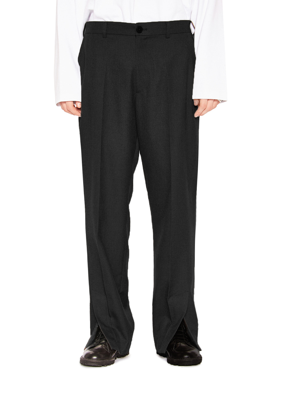 SIDE SLIT SLACKS black