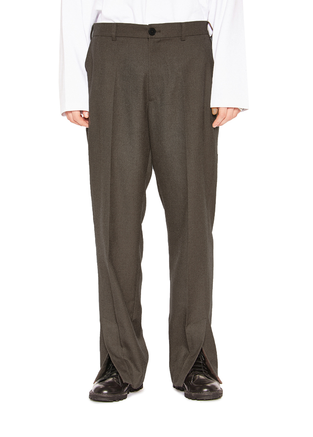 SIDE SLIT SLACKS brown