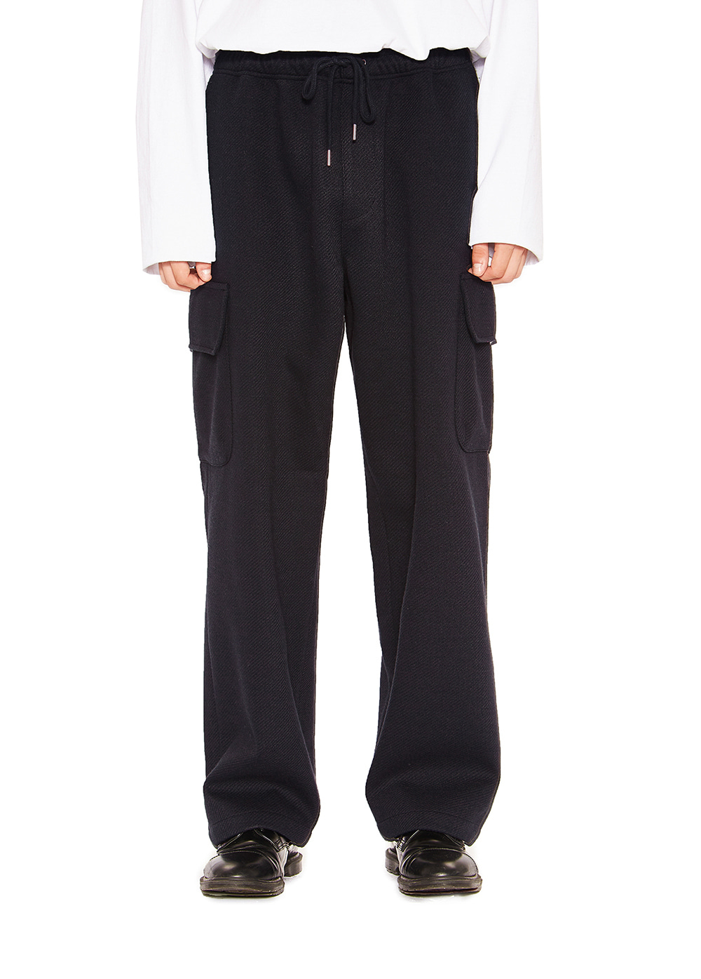 WIDE CARGO PANTS navy