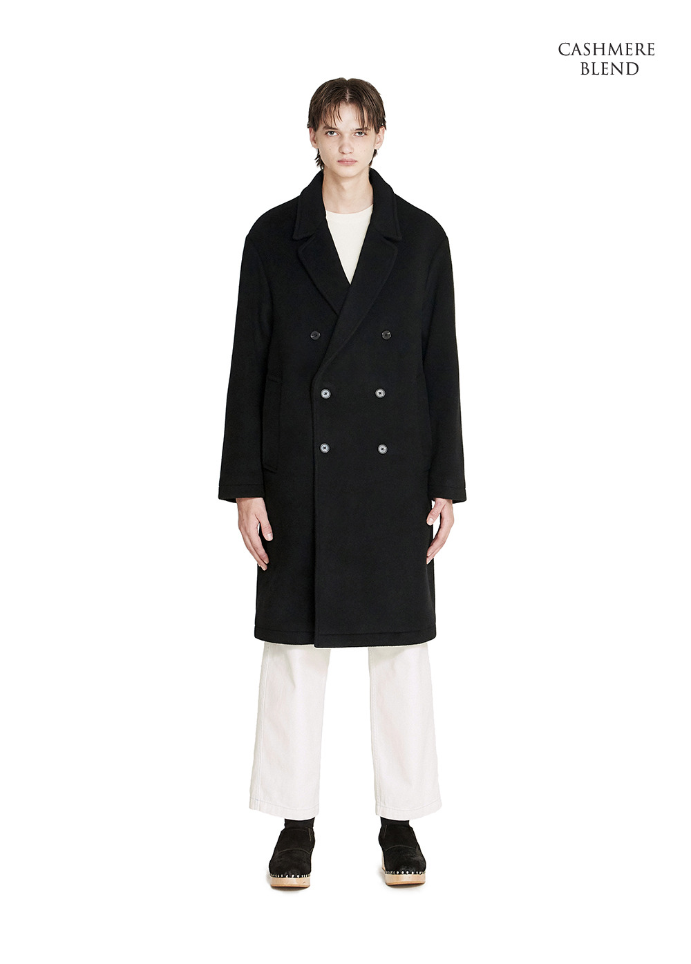DOUBLE BREASTED ROBE COAT black