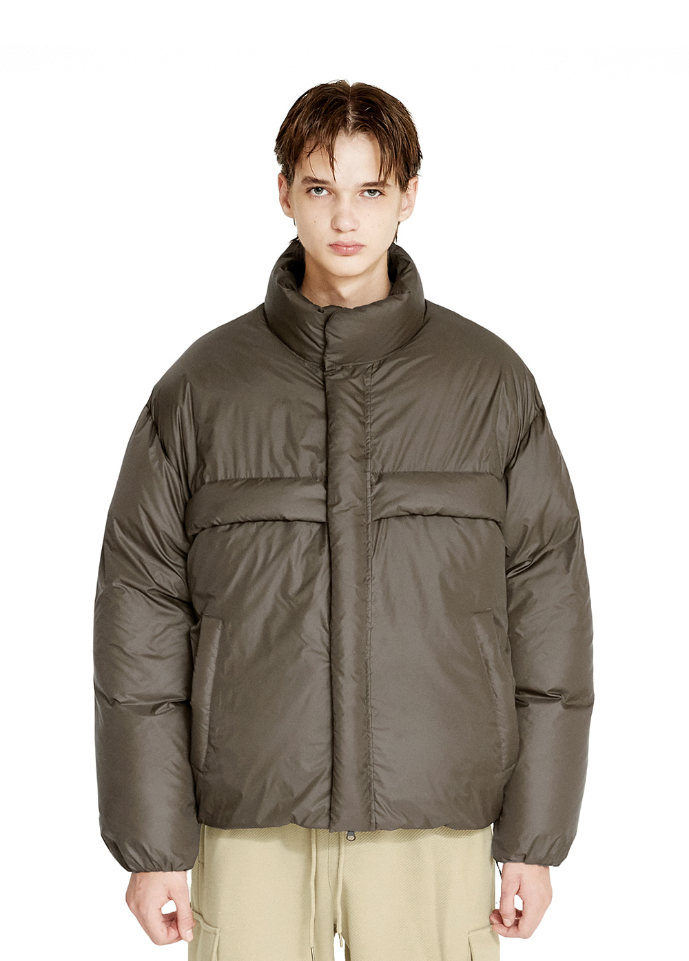 MINIMAL PUFFER DOWN PARKA brown