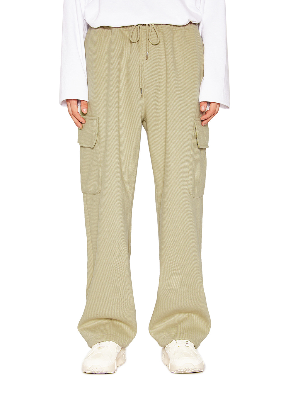 WIDE CARGO PANTS ash Khaki