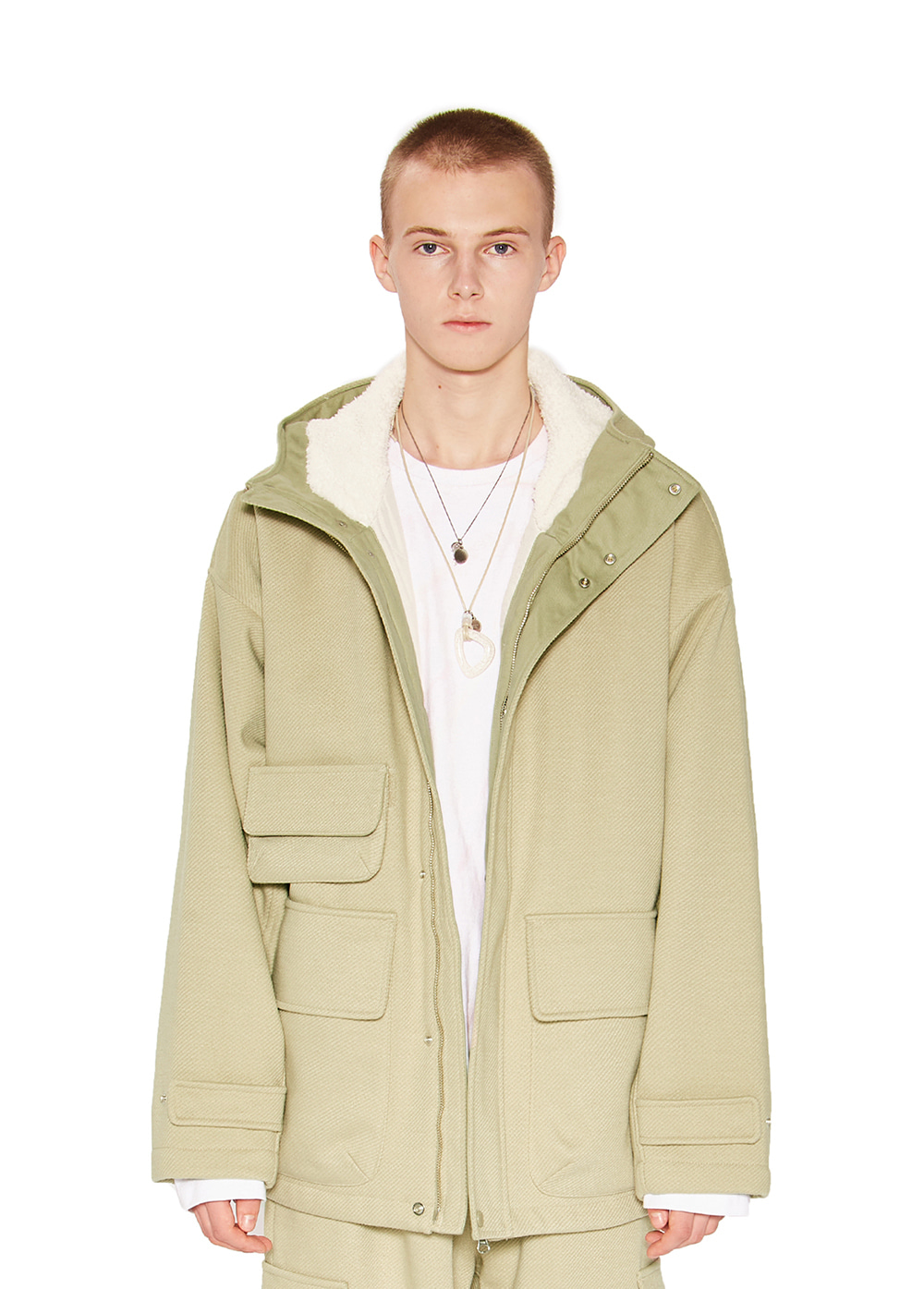 HOODED WIDE JACKET ash khaki