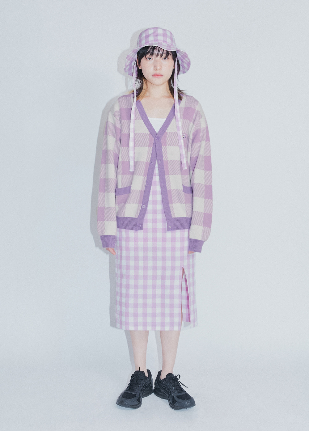 KANCO CHECK MID SKIRT lavender