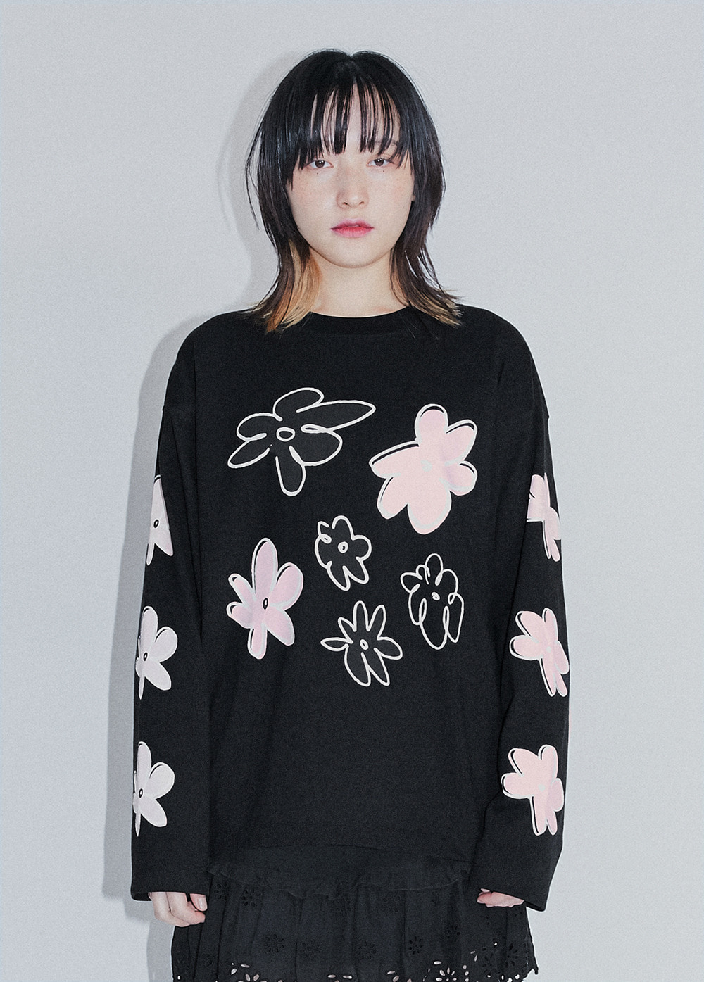 KANCO FLOWER LONG SLEEVE TEE black