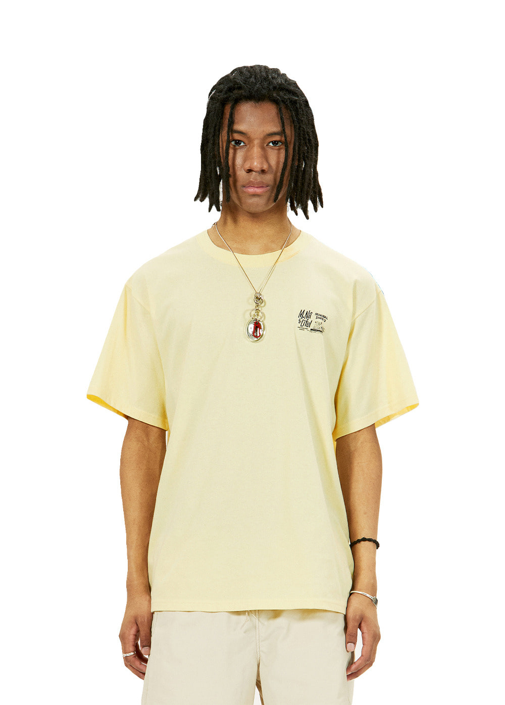 LIFUL X M.NII LOGO TEE light yellow