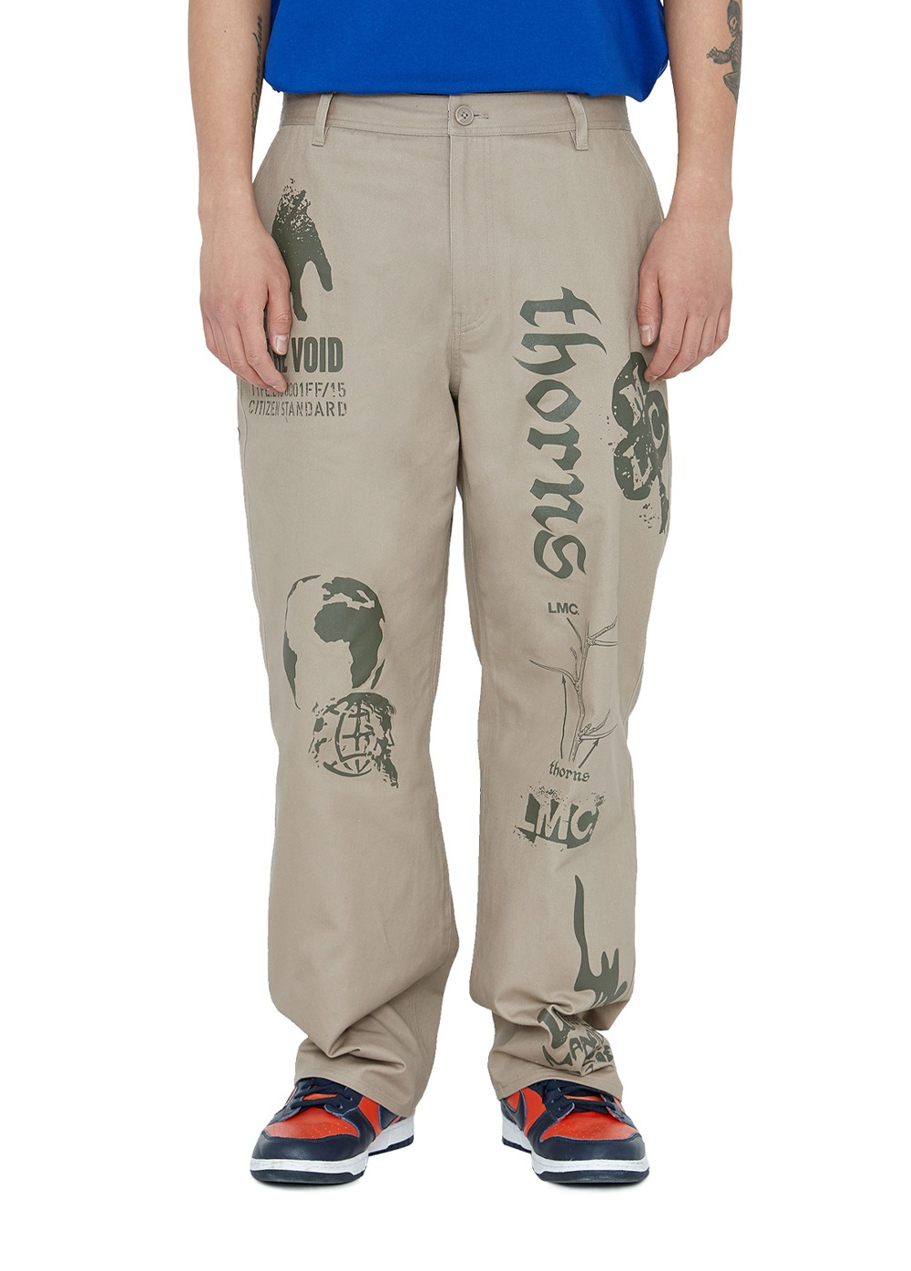 LMC GRAPHIC PRINTED DESCRIPTION WORK PANTS beige