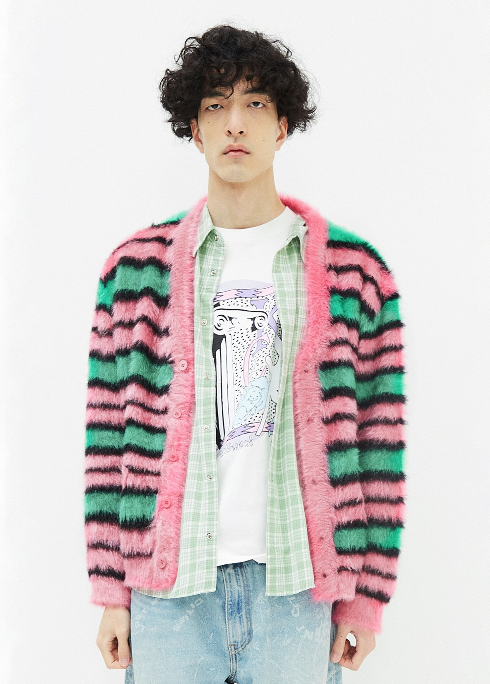 KANCO STRIPE CARDIGAN pink/green
