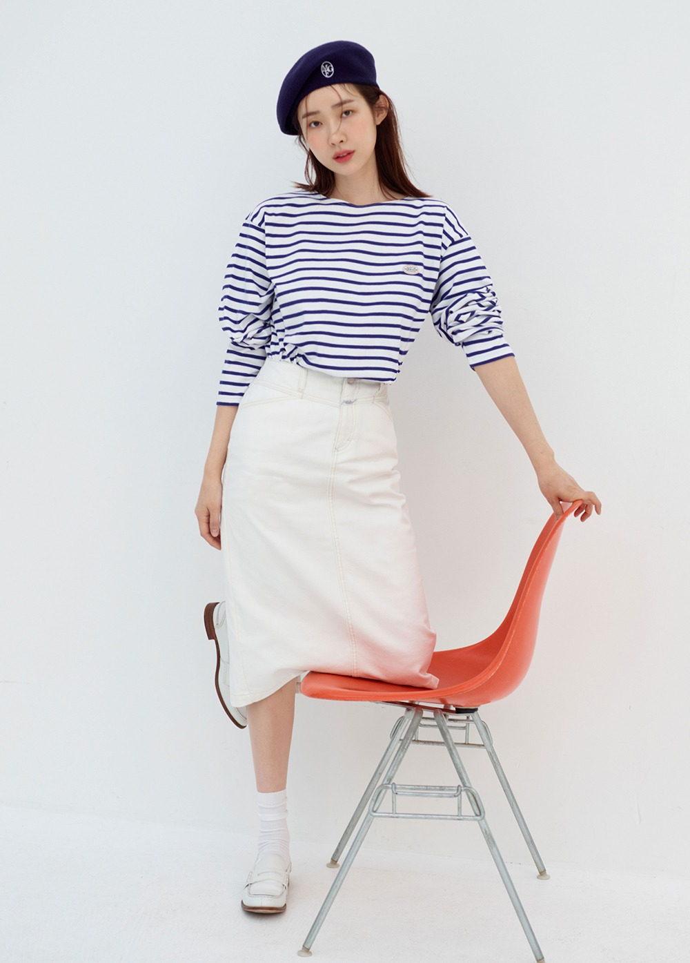 MARITHE W STANDARD X-DENIM SKIRT off white
