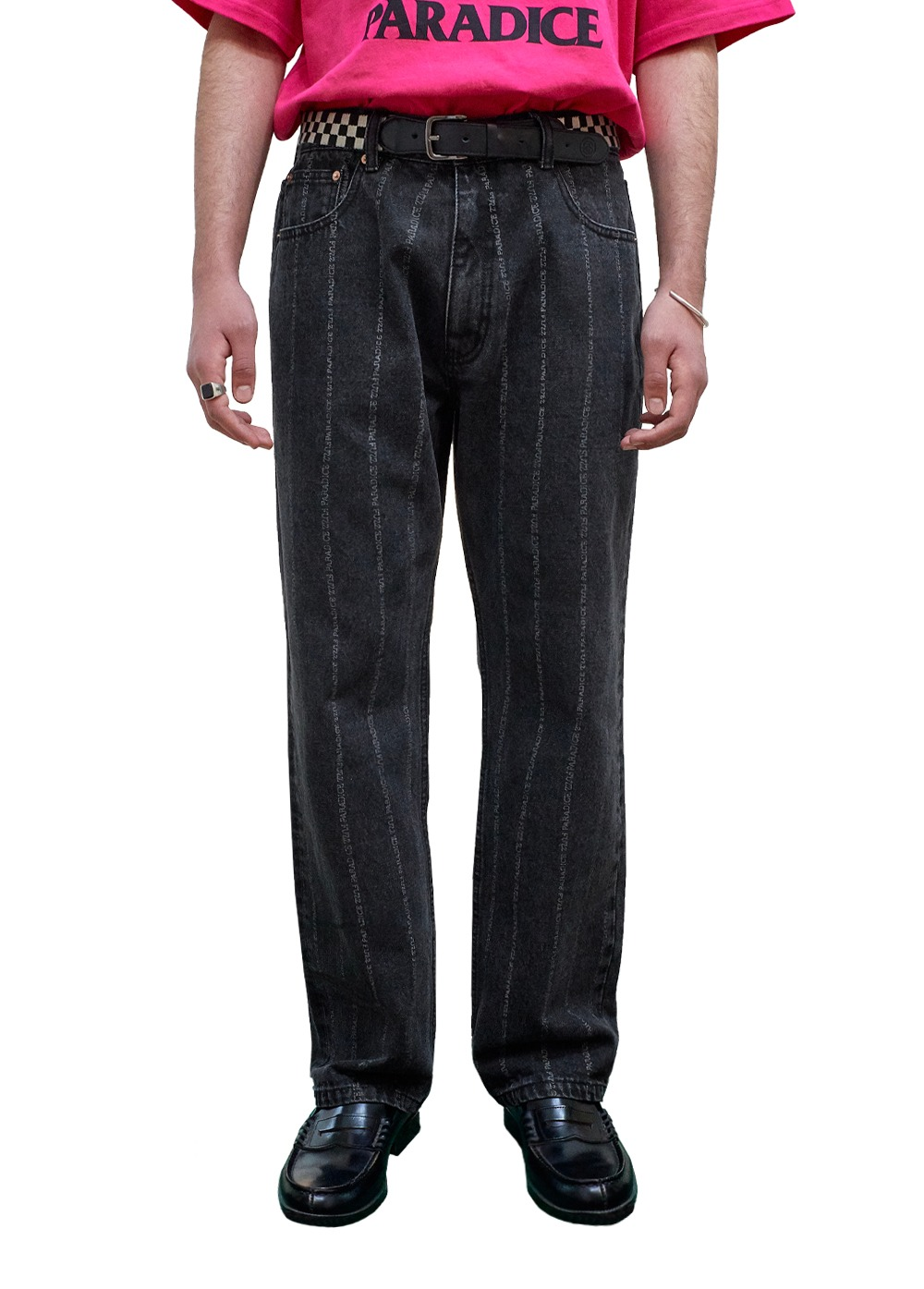 FUZZ 001 BIO WASHED STRIPE JEAN black