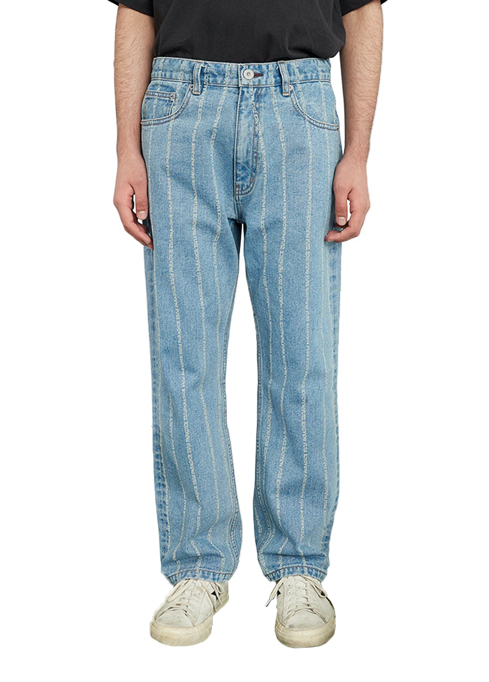 FUZZ 001 STONE WASHED STRIPE JEAN light blue