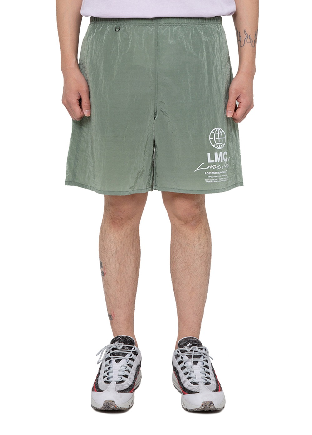 LMC TED GLOSSY WATER SHORTS olive green